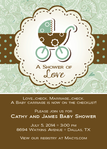 green baby carriage invitation dixons printing