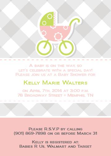 grey baby carriage invitation dixons printing