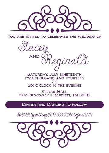 purple ornament invitation dixons printing