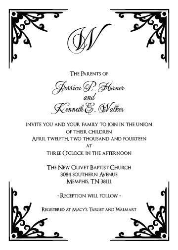 Wedding Invitations Corner Frames